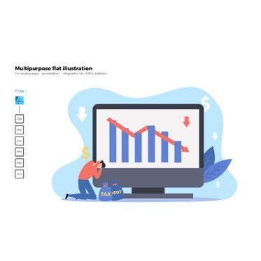 Business Models: Multipurpose modern flat illustration design down sales #05605