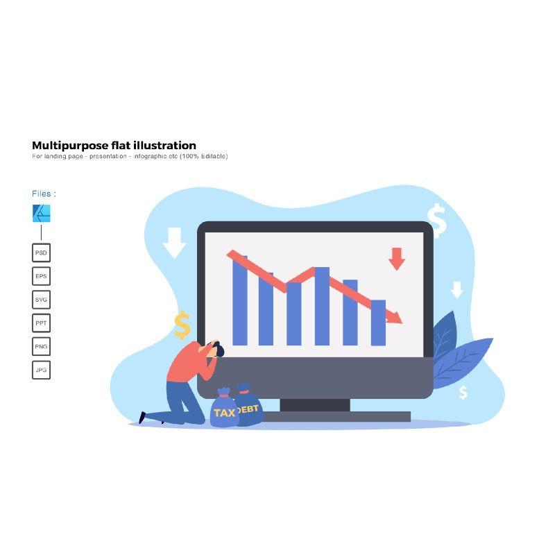 Multipurpose modern flat illustration design down sales, 05605, Business Models — PoweredTemplate.com