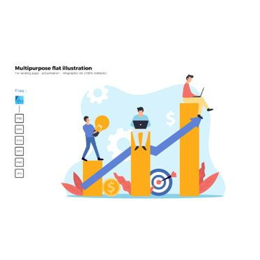 Business Models: Multipurpose modern flat illustration design good teamwork #05607