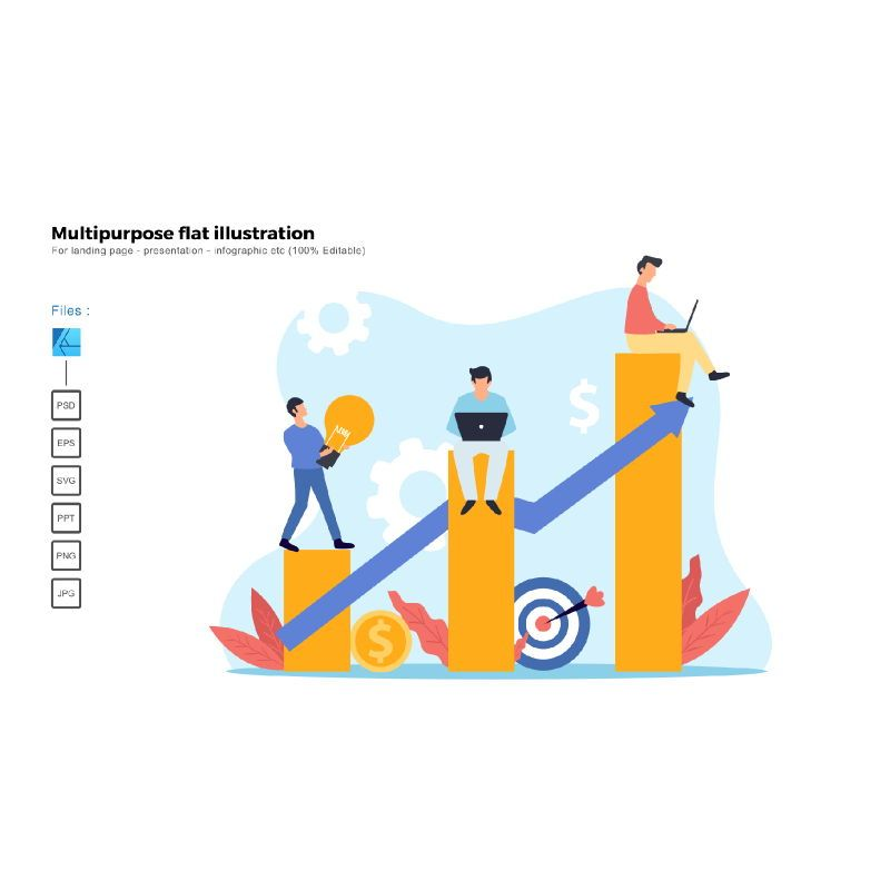 Multipurpose modern flat illustration design good teamwork, 05607, Business Models — PoweredTemplate.com