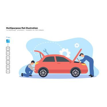 Infographics: Multipurpose modern flat illustration design car service #05652
