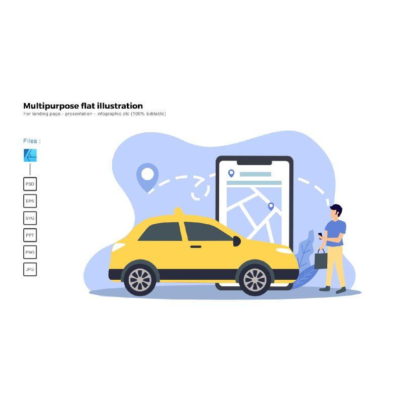 Multipurpose modern flat illustration design taxi online, 05653, Infographics — PoweredTemplate.com