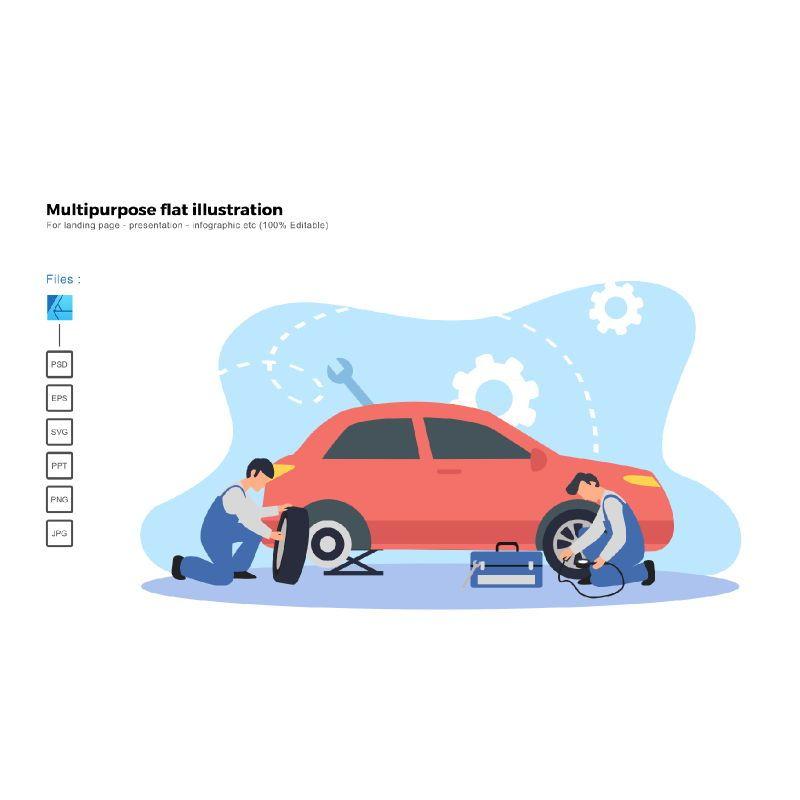 Multipurpose modern flat illustration design tire replace, 05654, Infographics — PoweredTemplate.com