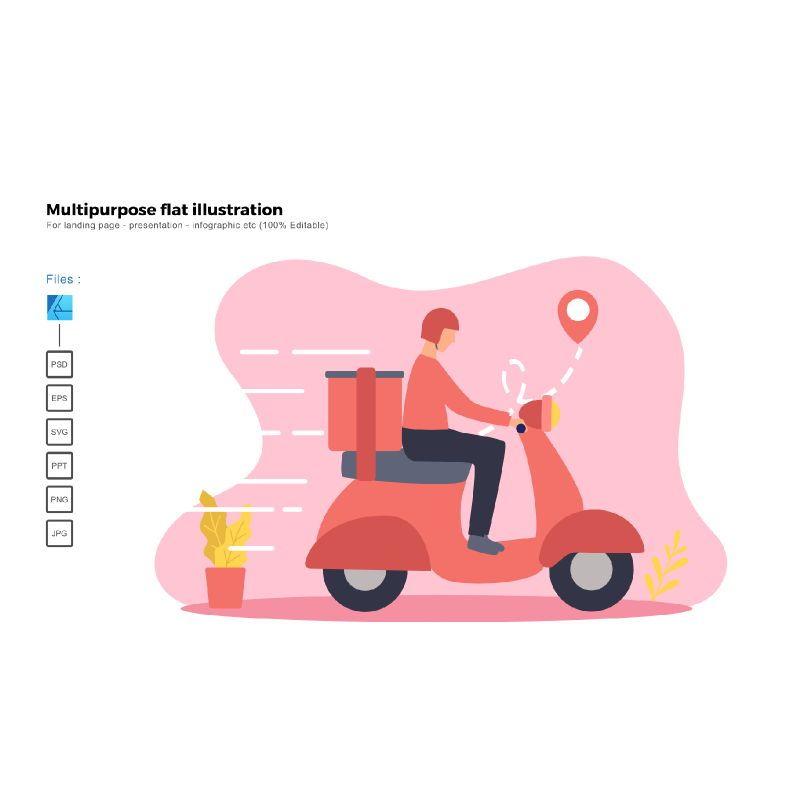 Multipurpose modern flat illustration design delivery, 05658, Infographics — PoweredTemplate.com