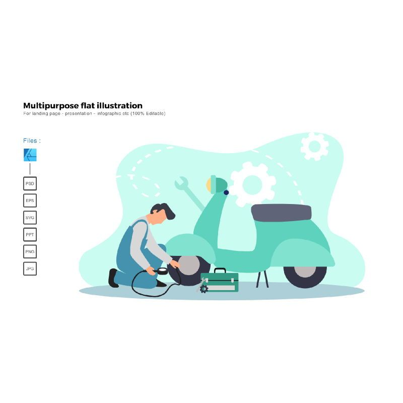 Multipurpose modern flat illustration design bike service, 05660, Infographics — PoweredTemplate.com