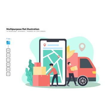 Infographics: Multipurpose modern flat illustration design logistic #05661