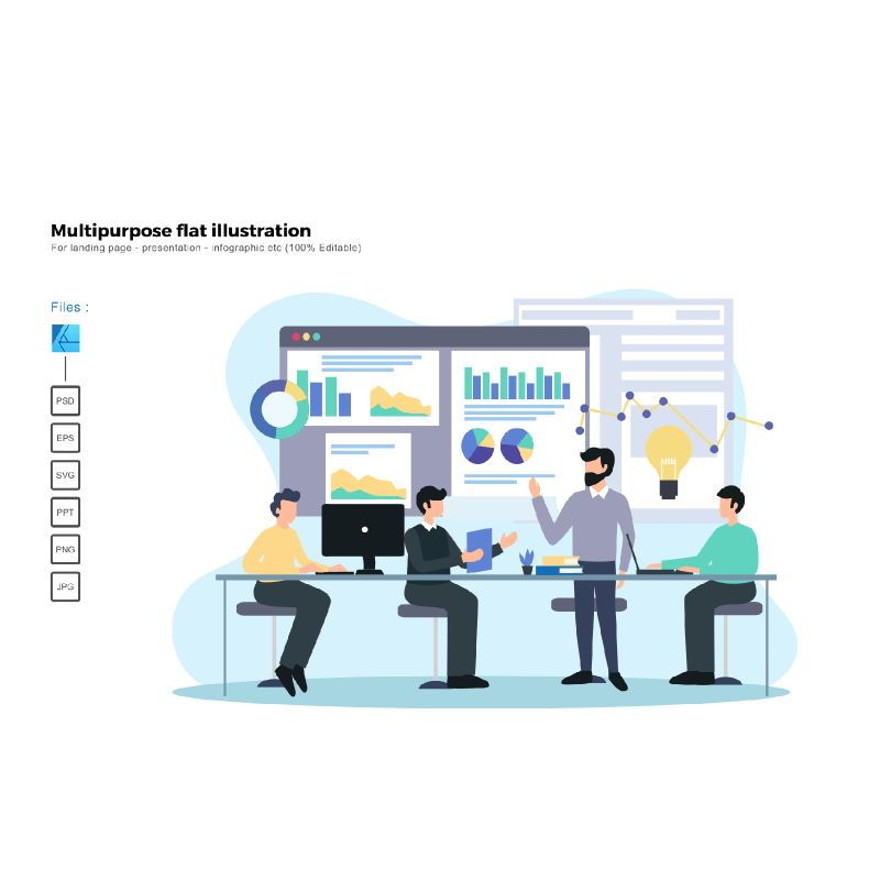 Multipurpose modern flat illustration design sales presentation, 05662, Data Driven Diagrams and Charts — PoweredTemplate.com