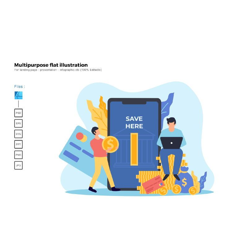 Multipurpose modern flat illustration design mobile banking, 05663, Business Models — PoweredTemplate.com