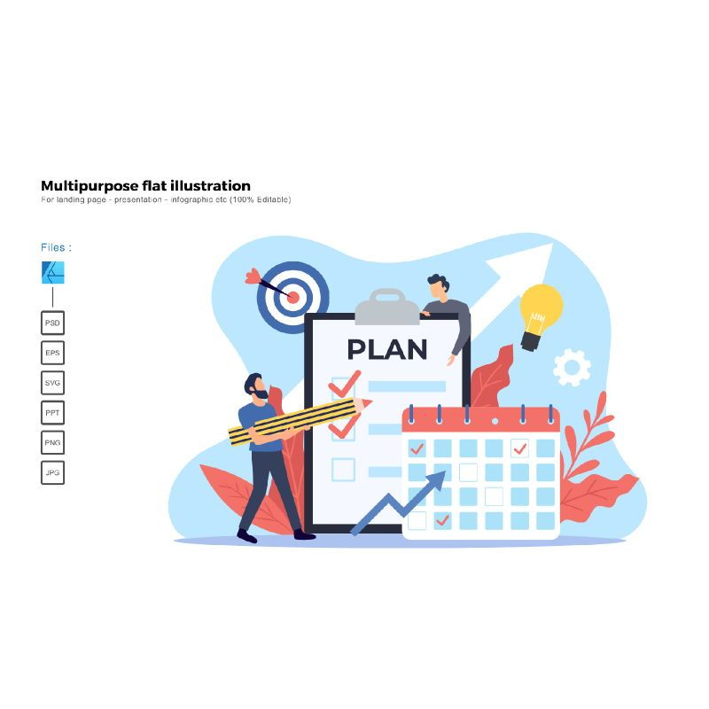 Multipurpose modern flat illustration design business plan, 05673, Business Models — PoweredTemplate.com