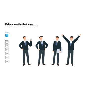 Business Models: Multipurpose modern flat illustration design business man teams #05688