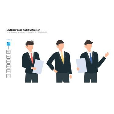 Business Models: Multipurpose modern flat illustration design business man pose #05689