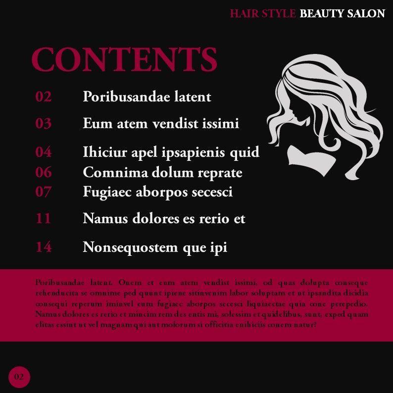 Hair Styles Beauty Salon Portfolio, Slide 2, 05693, Presentation Templates — PoweredTemplate.com