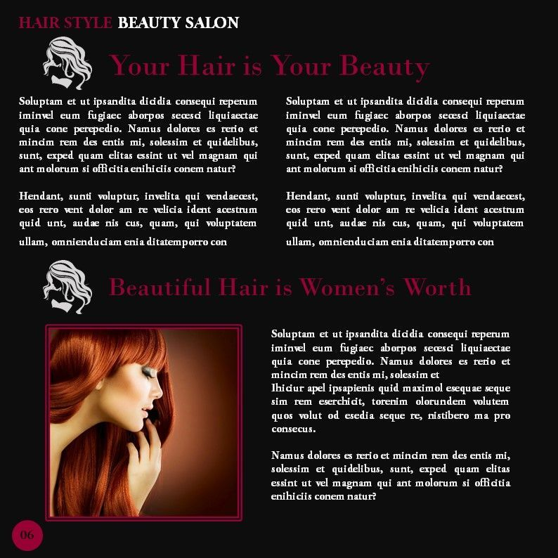 Hair Styles Beauty Salon Portfolio, Slide 6, 05693, Presentation Templates — PoweredTemplate.com