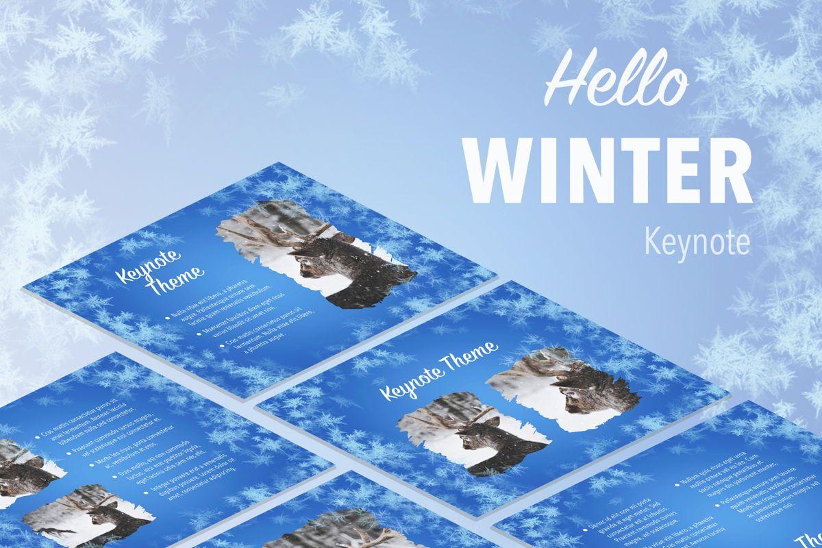 Hello Winter Keynote Template, 05700, Presentation Templates — PoweredTemplate.com