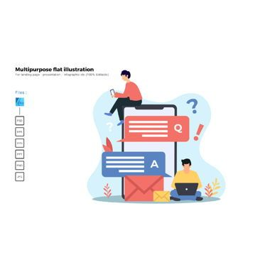 Infographics: Multipurpose modern flat illustration design question and answer #05724