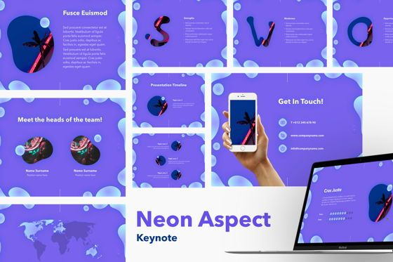 Presentation Templates: Neon Aspect Keynote Template #05751