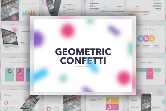Presentation Templates: Geometric Confetti PowerPoint Template #05755