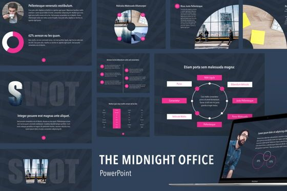 Presentation Templates: Midnight Office PowerPoint Template #05766