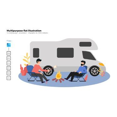 Infographics: Multipurpose modern flat illustration design camping van #05772