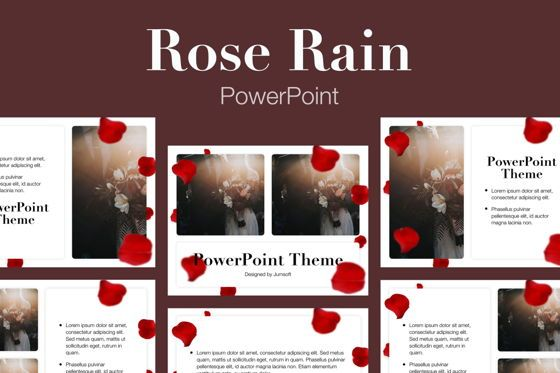 Presentation Templates: Rose Rain PowerPoint Template #05793