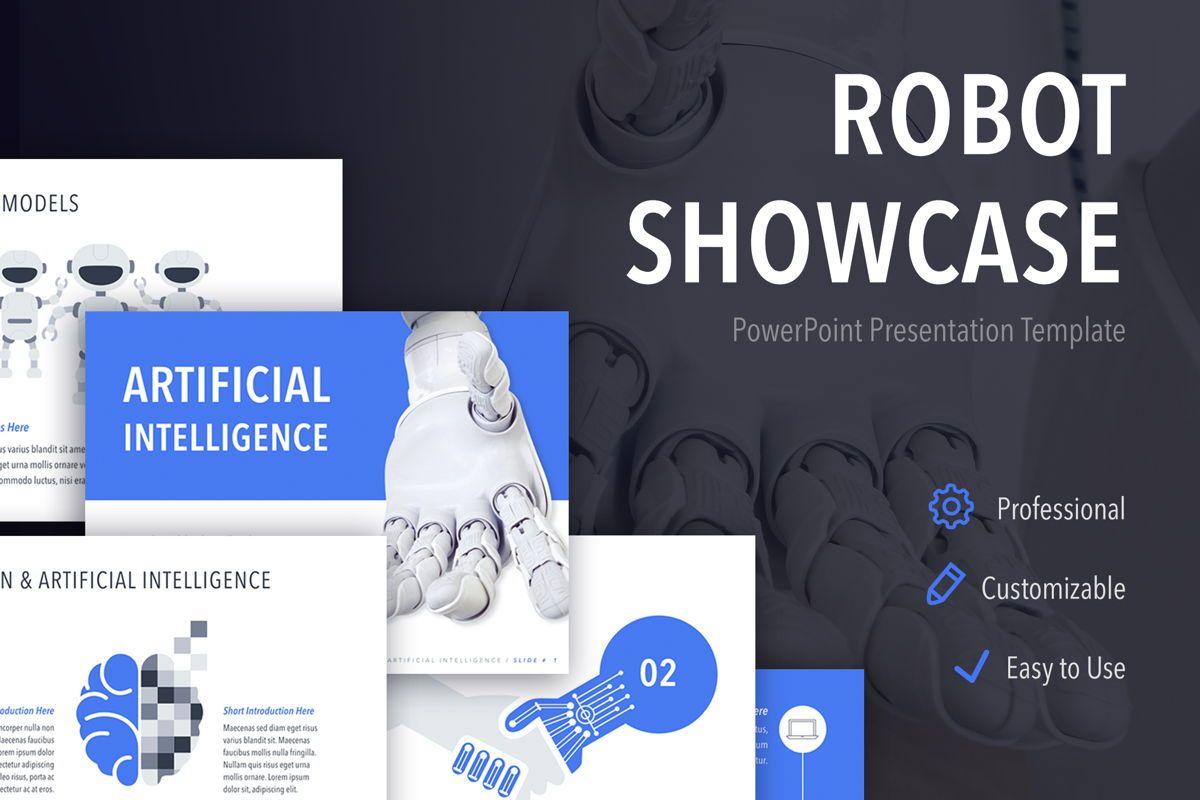 Robot Showcase PowerPoint Template, 05796, Presentation Templates — PoweredTemplate.com