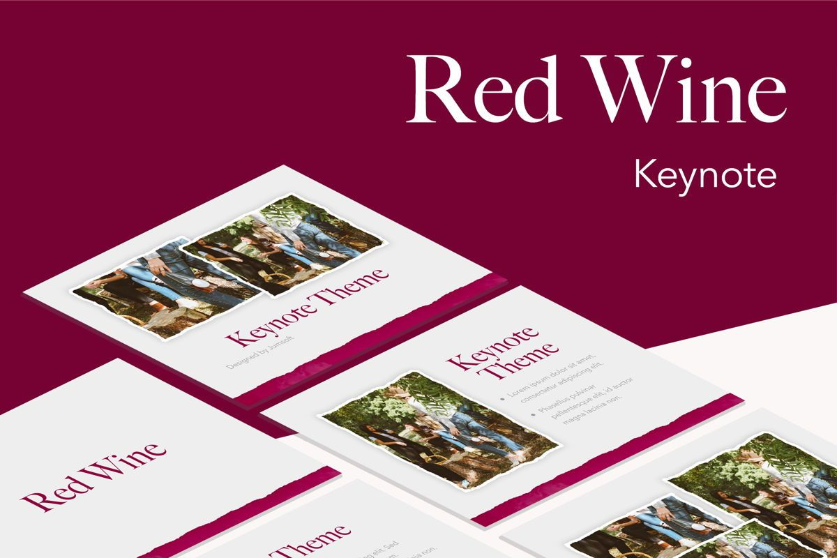 Red Wine Keynote Template, 05797, Presentation Templates — PoweredTemplate.com