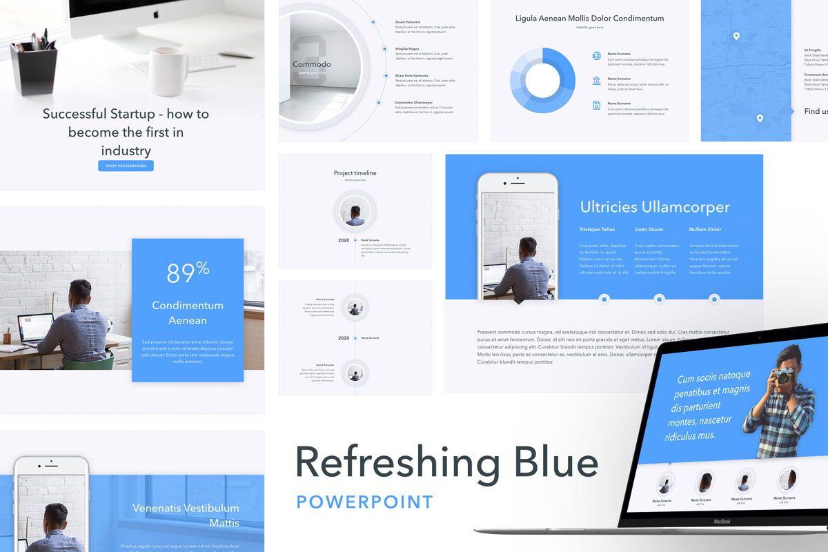 Refreshing Blue PowerPoint Template, 05798, Presentation Templates — PoweredTemplate.com