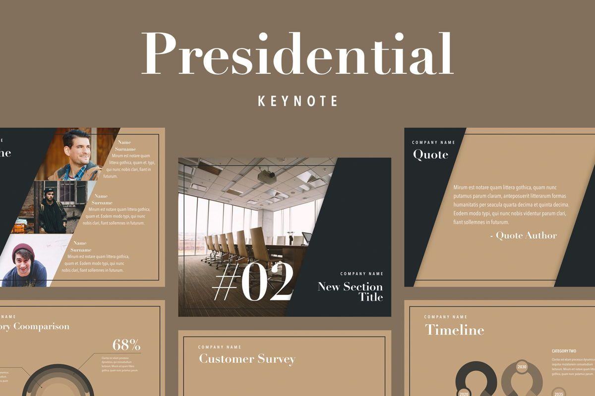 Presidential Keynote Template, 05802, Presentation Templates — PoweredTemplate.com