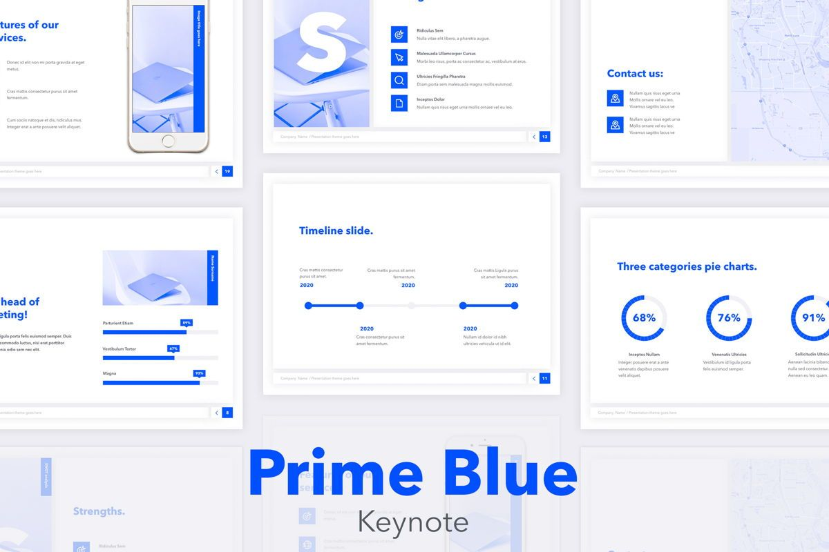 Prime Blue Keynote Template, 05804, Presentation Templates — PoweredTemplate.com