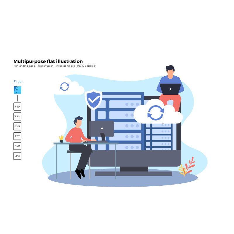 Multipurpose modern flat illustration design cloud hosting, 05807, Infographics — PoweredTemplate.com