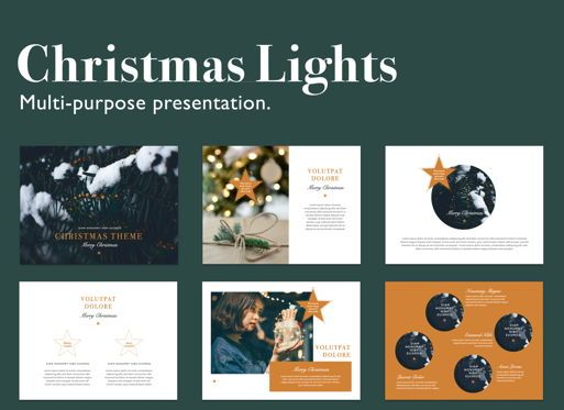 Presentation Templates: Christmas Lights Powerpoint Presentation Template #05832