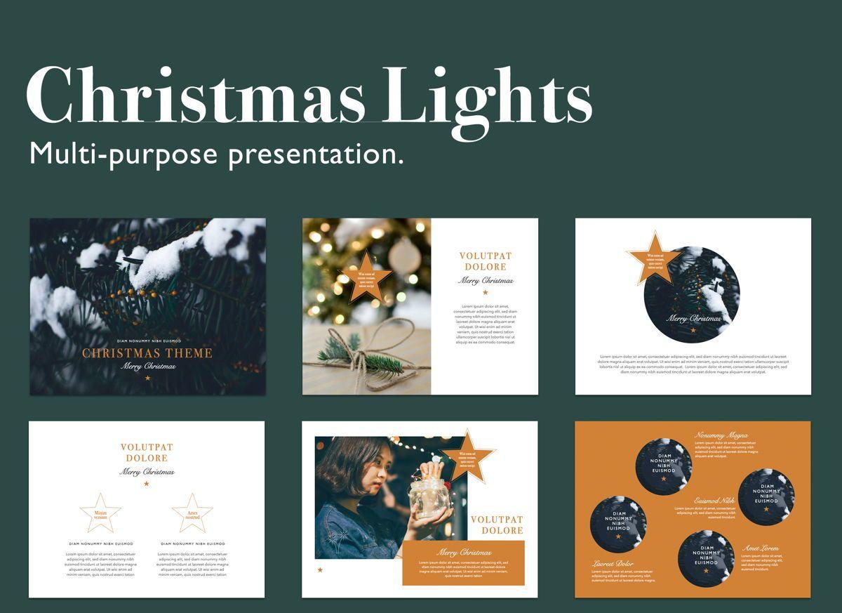 Christmas Lights Powerpoint Presentation Template, 05832, Presentation Templates — PoweredTemplate.com