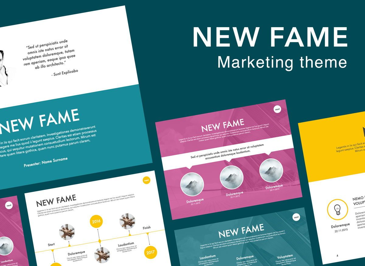 New Fame Powerpoint Presentation Template, 05840, Presentation Templates — PoweredTemplate.com