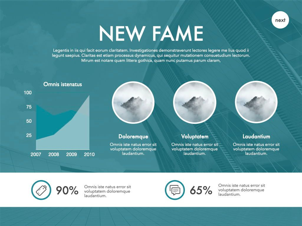 New Fame Powerpoint Presentation Template, Slide 19, 05840, Presentation Templates — PoweredTemplate.com