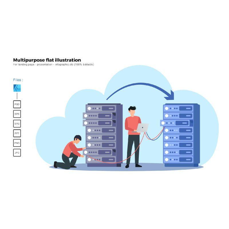 Multipurpose modern flat illustration design server migration, 05852, Infographics — PoweredTemplate.com