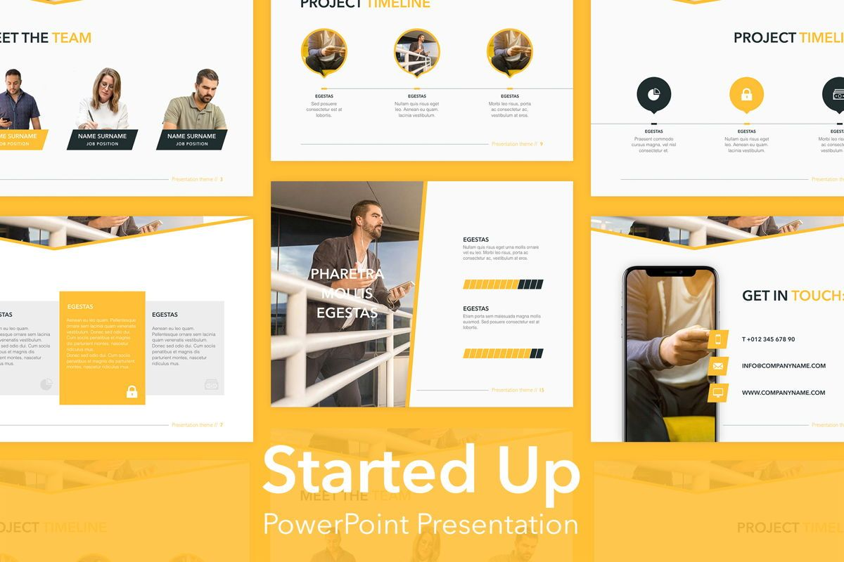Started Up PowerPoint Template, 05855, Presentation Templates — PoweredTemplate.com