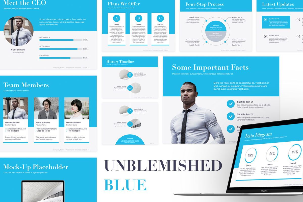 Unblemished Blue Keynote Template, 05859, Presentation Templates — PoweredTemplate.com