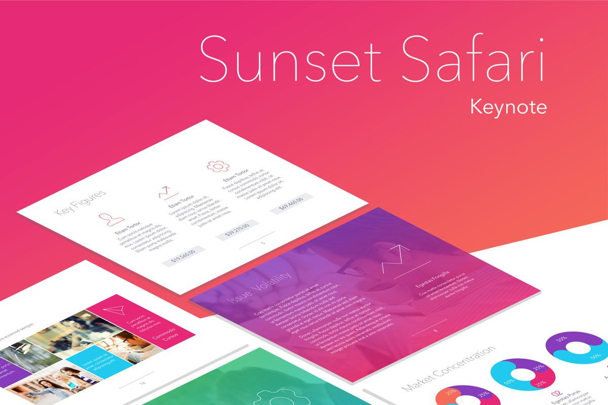 Sunset Safari Keynote Template, 05862, Presentation Templates — PoweredTemplate.com