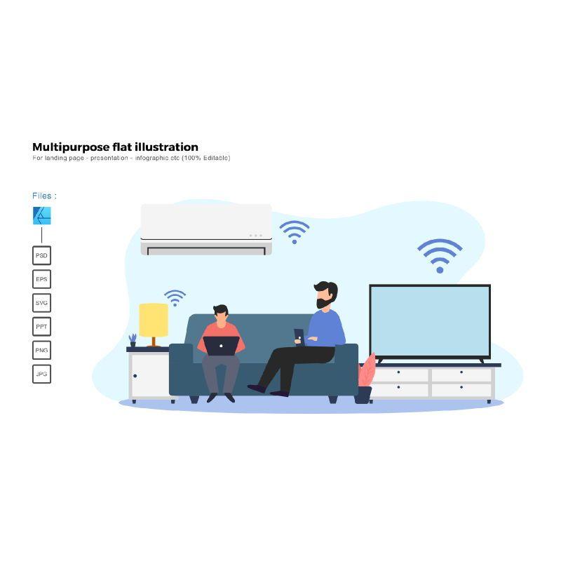 Multipurpose modern flat illustration design smart home, 05869, Infographics — PoweredTemplate.com