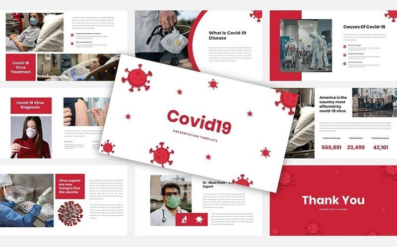 Covid19 - Presentation Template, 05870, Medical Diagrams and Charts — PoweredTemplate.com