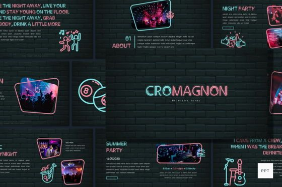 Presentation Templates: Cromagnon - Creative Neon Powerpoint Template #05887