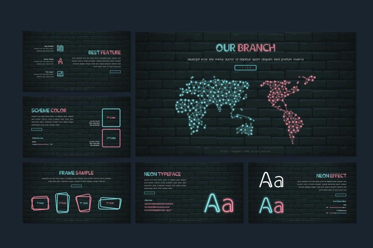 Cromagnon - Creative Neon Powerpoint Template, Slide 13, 05887, Presentation Templates — PoweredTemplate.com