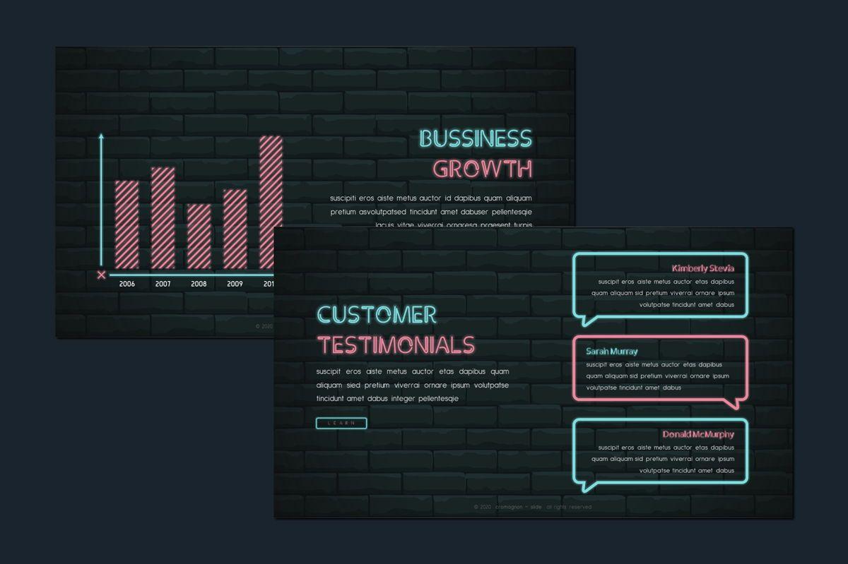 Cromagnon - Creative Neon Powerpoint Template, Slide 6, 05887, Presentation Templates — PoweredTemplate.com