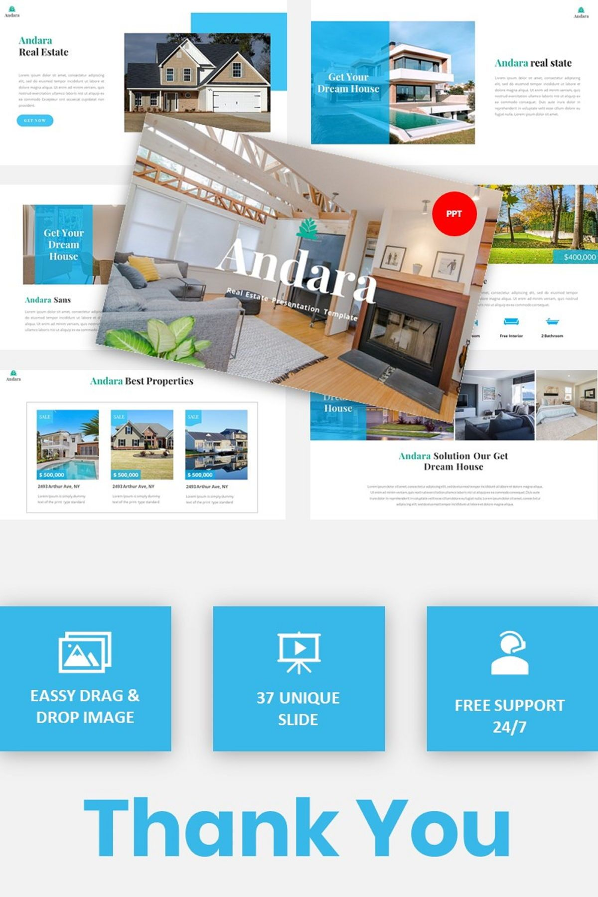 Andara - Real Estate Powerpoint Template, 05888, Text Boxes — PoweredTemplate.com
