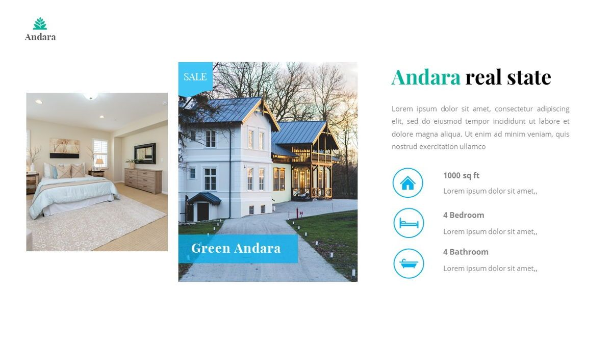 Andara - Real Estate Powerpoint Template, Slide 10, 05888, Text Boxes — PoweredTemplate.com