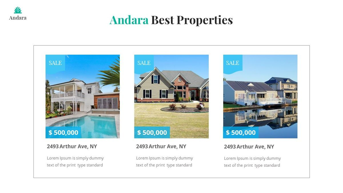 Andara - Real Estate Powerpoint Template, Slide 11, 05888, Text Boxes — PoweredTemplate.com
