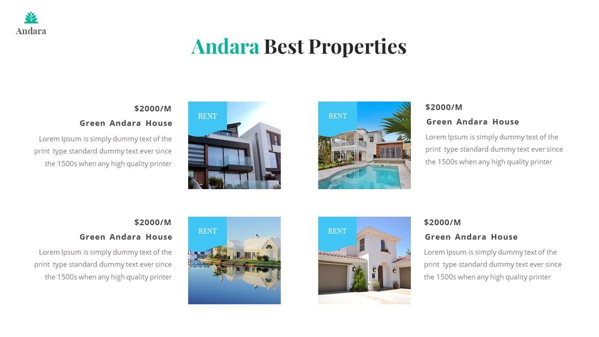 Andara - Real Estate Powerpoint Template, Slide 13, 05888, Text Boxes — PoweredTemplate.com