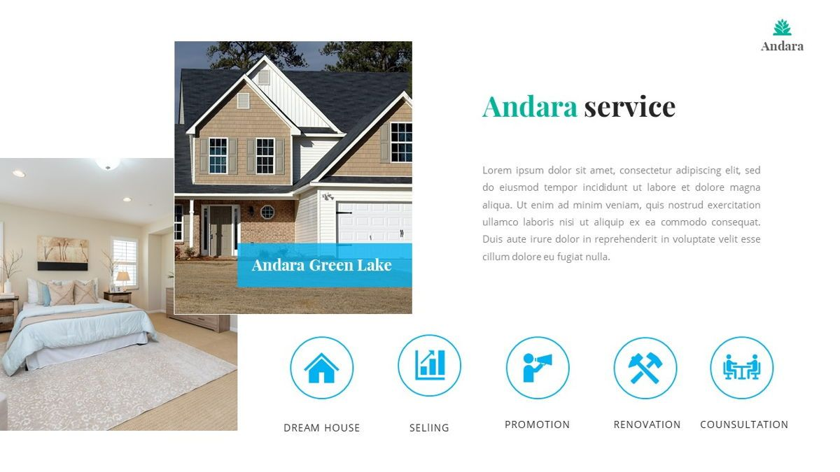 Andara - Real Estate Powerpoint Template, Slide 16, 05888, Text Boxes — PoweredTemplate.com