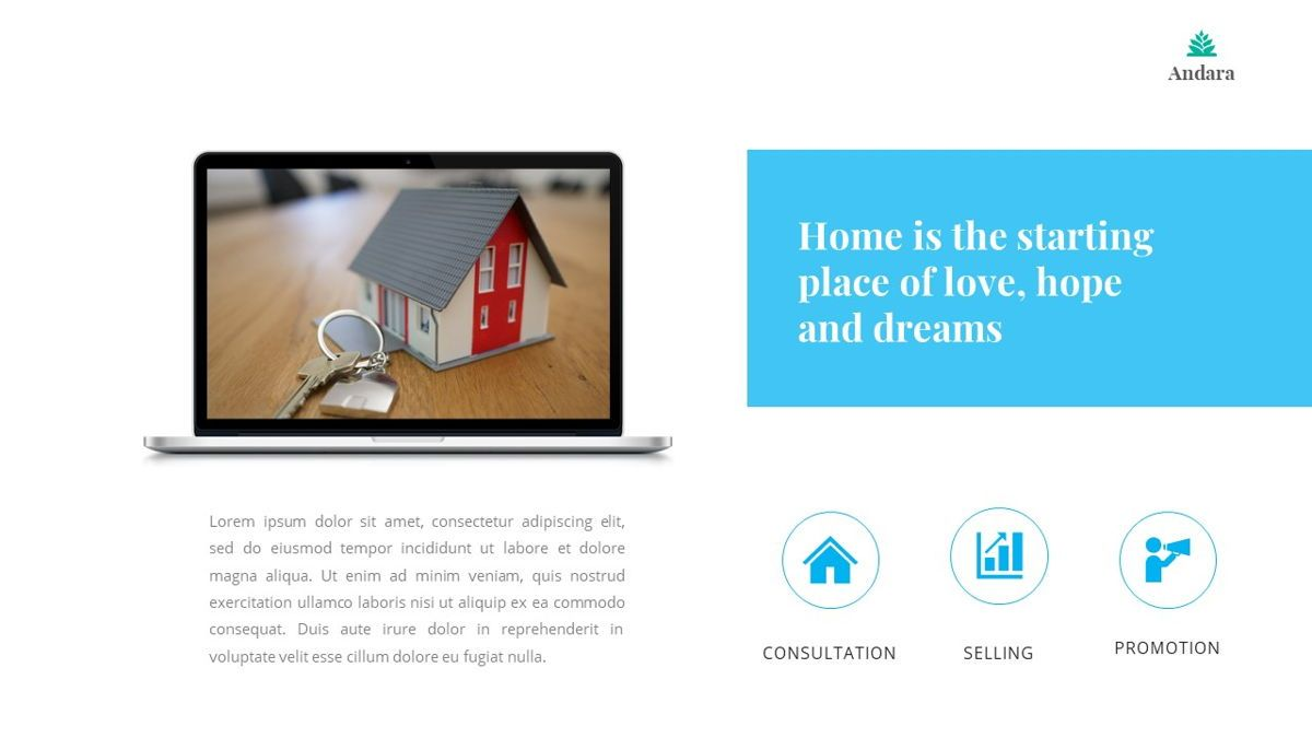 Andara - Real Estate Powerpoint Template, Slide 27, 05888, Text Boxes — PoweredTemplate.com