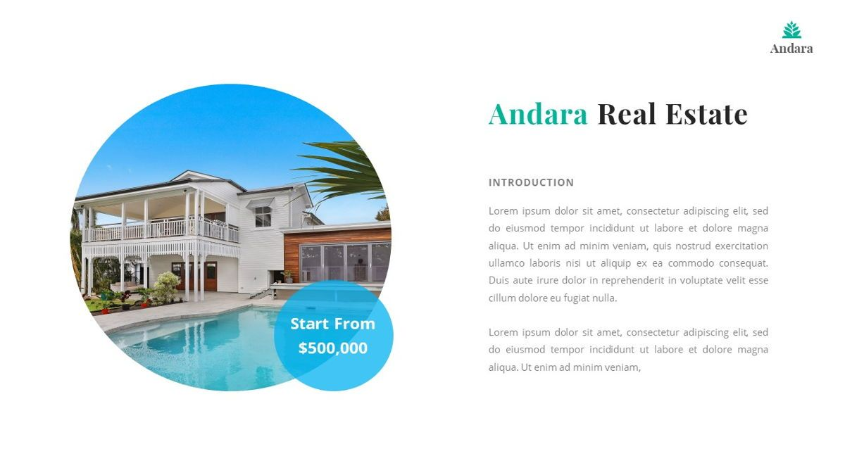 Andara - Real Estate Powerpoint Template, Slide 4, 05888, Text Boxes — PoweredTemplate.com